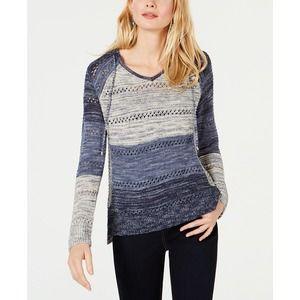 INC Inkberry Open Knit Hooded Sweater Sm